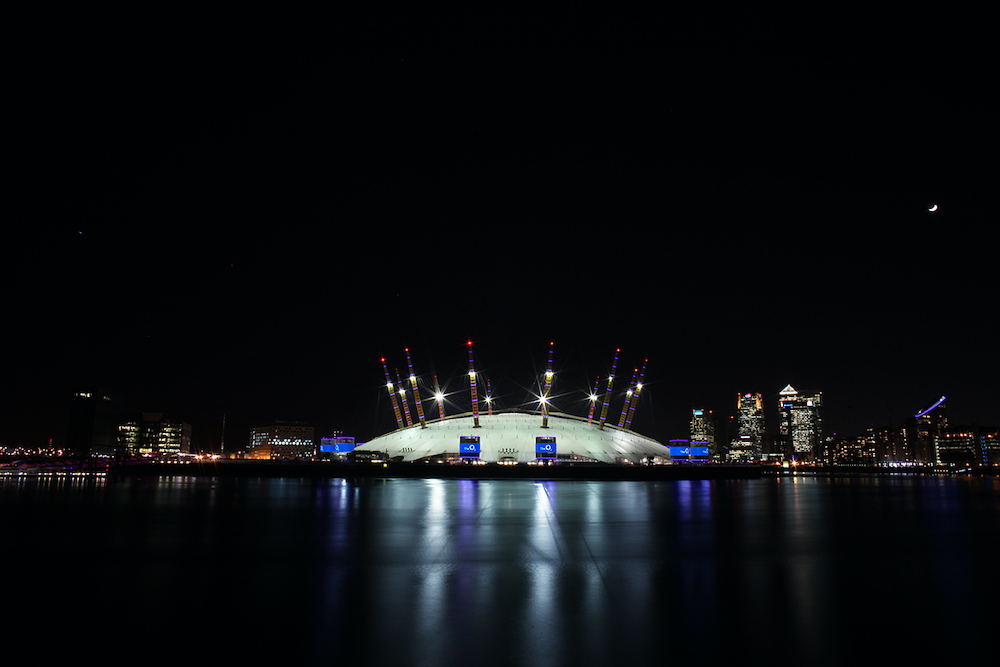 The O2 at night from across the Thames