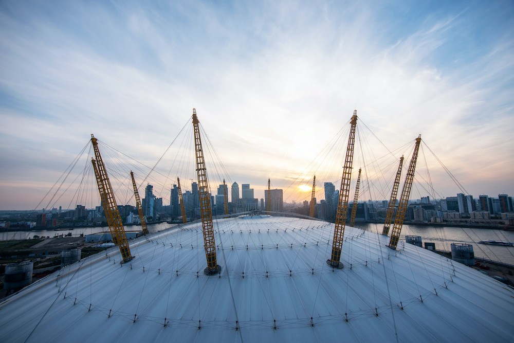 Aerial view over the O2