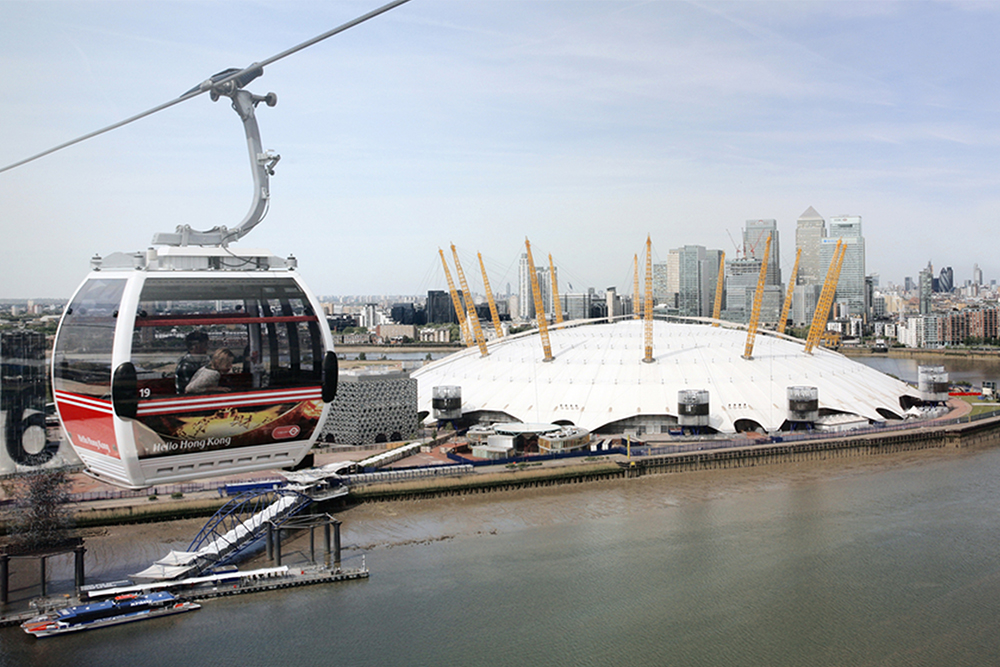 The O2 with the Emirates Air Line cable car